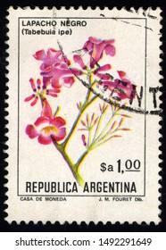 SINGAPORE – AUGUST 31, 2019: A stamp printed in Argentina shows Pink Ipe, Tabebuia Ipe, Tree, circa 1983