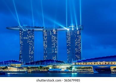 Singapore - AUGUST 5, 2014: Singapore skyline on August 5 in Singapore, Singapore. Singapore is a popular tourist destination