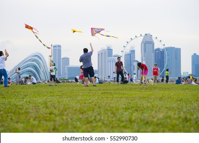 SINGAPORE - August 6: Kite festival, a gathering for kite enthusiast at Marina Barrage August 6, 2016 in Singapore.