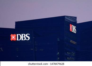 Singapore, Singapore - August 9 2019: The DBS Bank headquarter in Marina Bay Financial Centre, Central Business District. DBS is a multinational banking and financial services corporation.
