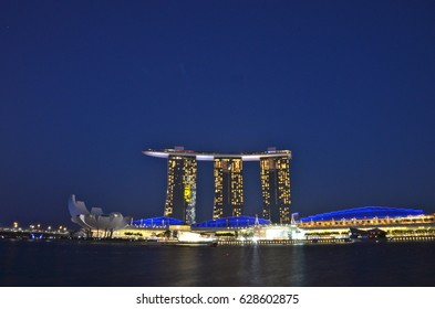 SINGAPORE- AUGUST 9: The Marina Bay Sands Resort Hotel on August 9, 2012 in Singapore. It is an integrated resort and the world's most expensive stand alone casino property at $8 billion.