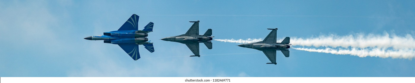 Singapore - August,2018: RSAF Military fighter jets perform aerial acrobatics. The Republic of Singapore Air Force (RSAF) is the air arm of the Singapore Armed Forces.