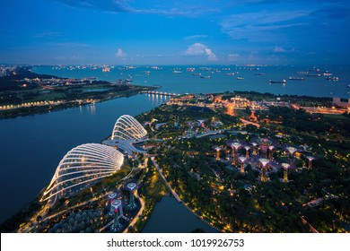 Singapore bay and harbor with vessel and gardent  from roof top of building