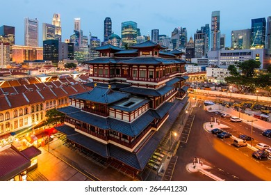 Singapore Buddha Tooth Relic Temple in Chinatown at night