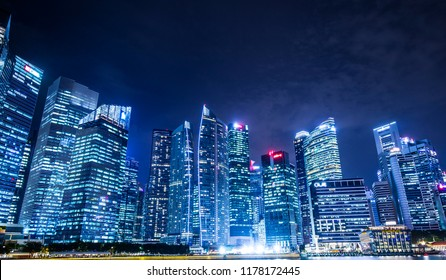 Singapore and building night view