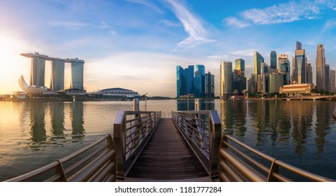 Singapore business district and city at twilight in Singapore, Asia