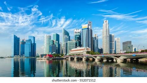 Singapore business district panorama over Marina Bay