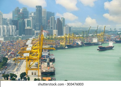 Singapore cargo terminal,one of the busiest Import, Export, Logistics ports in the world, Singapore.