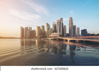 Singapore central business district (CBD) cityscape skyline at Marina Bay.