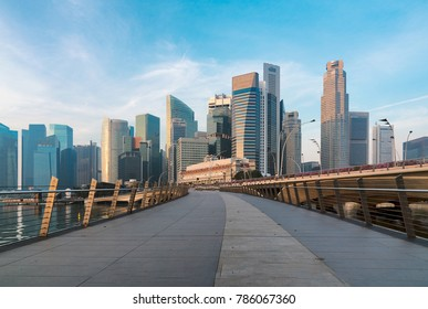 Singapore central financial district skyline at blue hour from Marina bay Singapore cityscape
