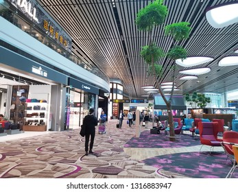 Singapore Changi Airport, Singapore - Jan 24th, 2019 - one of the largest transportation hubs in Southeast Asia. It offers visitors a variety of attractions spread across its four terminals.
