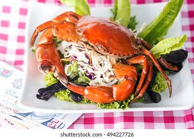 Singapore chili mud crab in in restaurant