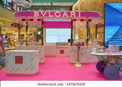 SINGAPORE - CIRCA APRIL, 2019: BVLGARI booth at Changi International Airport.