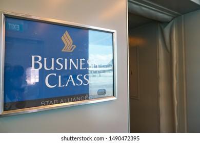 SINGAPORE - CIRCA APRIL, 2019: close up shot of Business Class sign seen at passenger boarding bridge in Singapore Changi Airport.