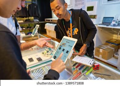 SINGAPORE - CIRCA APRIL, 2019: customisation area at Nike store in Jewel Changi Airport.