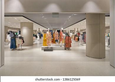 SINGAPORE - CIRCA APRIL, 2019: entrance to Zara store in Jewel Changi Airport.