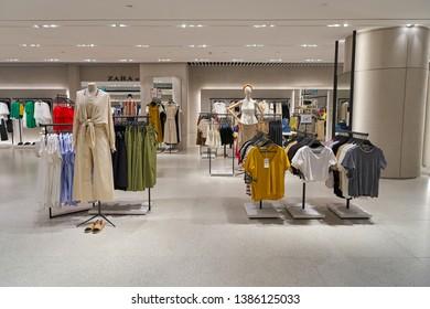 SINGAPORE - CIRCA APRIL, 2019: interior shot of Zara store in Jewel Changi Airport.