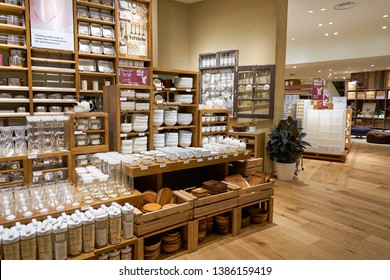SINGAPORE - CIRCA APRIL, 2019: interior shot of Muji store in Jewel Changi Airport. Muji is a Japanese retail company which sells a wide variety of household and consumer goods.