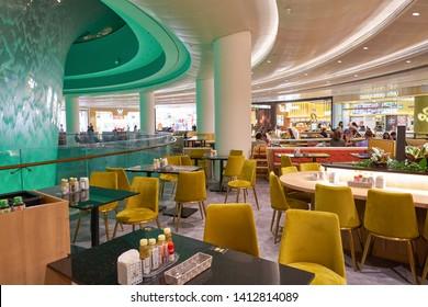 SINGAPORE - CIRCA APRIL, 2019: interior shot of Jewel Changi Airport.