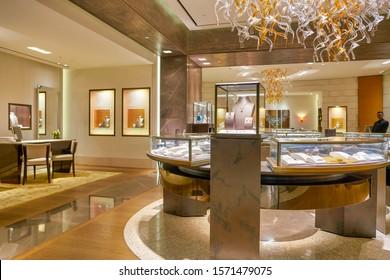 SINGAPORE - CIRCA APRIL, 2019: interior shot of Bvlgari store in The Shoppes at Marina Bay Sands.