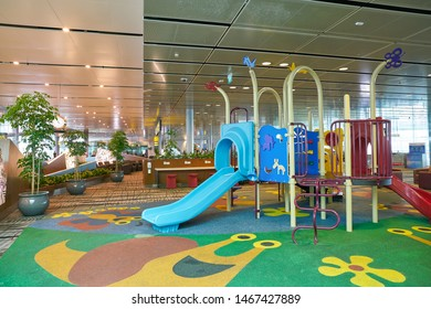 SINGAPORE - CIRCA APRIL, 2019: kids play area at Singapore Changi Airport.