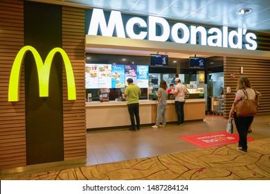 SINGAPORE - CIRCA APRIL, 2019: McDonald's at Changi International Airport.