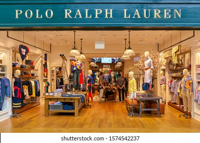 SINGAPORE - CIRCA APRIL, 2019: Polo Ralph Lauren brand name over store entrance in the Shoppes at Marina Bay Sands.