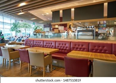 SINGAPORE - CIRCA APRIL, 2019: Pret a Manger at Singapore Changi Airport. Pret a Manger is an international sandwich shop chain.
