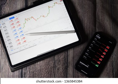 SINGAPORE - Circa April, 2019: Trading forex with METATRADER 4 on Apple iPad Pro 11 inch. iPad Pro is the most user friendly which good for people on the go.