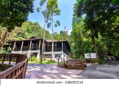 SINGAPORE - CIRCA Dec 12 2019: The rock marking the summit of Bukit Timah hill within Bukit Timah Nature Reserve. it is a favorite spot for those looking to get close to nature