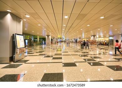 SINGAPORE - CIRCA JANUARY, 2020: interior shot of Singapore Changi Airport. Changi Airport is a major civilian airport that serves Singapore.