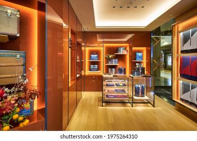 SINGAPORE - CIRCA JANUARY, 2020: interior shot of Moynat store in Nge Ann City shopping center.