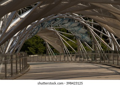 SINGAPORE - CIRCA JULY 2015: The Helix Bridge  in Singapore, is a pedestrian bridge linking Marina Centre with Marina South in the Marina Bay area in Singapore.
