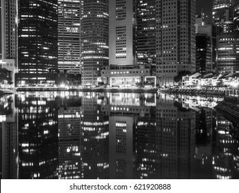 Singapore  - Circa March 2017 - Singapores marina bay area