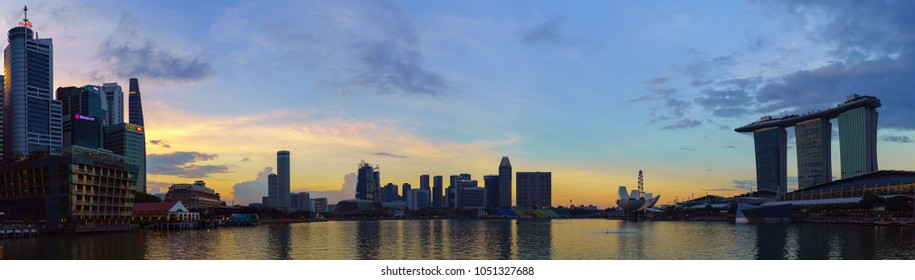 SINGAPORE - CIRCA MAY 2017: Beautiful panoramic landscape of Marina Bay and the city center of Singapore at sunset time.