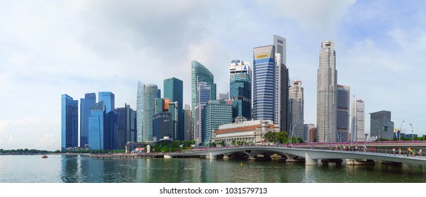 SINGAPORE - CIRCA MAY 2017: Singapore City Skyline and Financial district across Marina Bay in Singapore in May 2017.