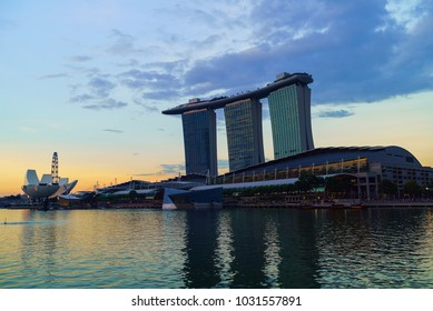 SINGAPORE - CIRCA MAY 2017:  Marina bay harbor with famous Marina Bay Sands hotel at late evening, Singapore.