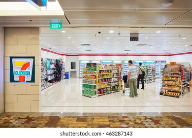 SINGAPORE - CIRCA NOVEMBER, 2015: 7-Eleven store in Singapore Changi Airport. 7-Eleven is an international chain of convenience stores.