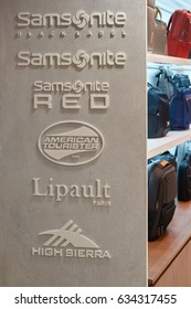 SINGAPORE - CIRCA SEPTEMBER, 2016: close up shot of Samsonite, American Tourister, Lipault and High Sierra signs at a store in Singapore Changi Airport.