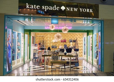 SINGAPORE - CIRCA SEPTEMBER, 2016: Kate Spade store at Singapore Changi Airport. Changi Airport is one of the largest transportation hubs in Southeast Asia.