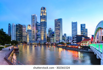 SINGAPORE CITY, SINGAPORE - 14 NOVEMBER 2014: Evening view of Downtown Core Skyscrapers and Bayfront district. Singapore City state.