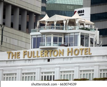 Singapore City, Singapore - 28th April, 2016: View of the top of the Fullerton Hotel, Fullerton Square, Singapore.