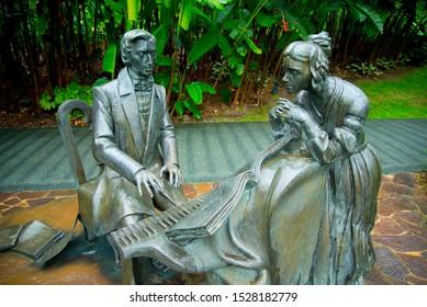 SINGAPORE CITY, SINGAPORE - April 11, 2019: Statue of Frederick Chopin in the Singapore Botanic Gardens