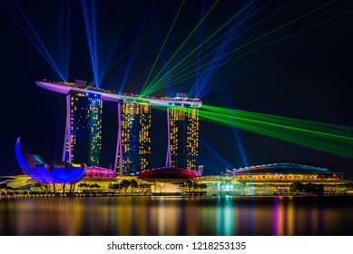 SINGAPORE CITY, SINGAPORE - APRIL 17, 2018: Spectra Light and Water Show Marina Bay Sand Casino Hotel Downtown Singapore on APRIL 17, 2018