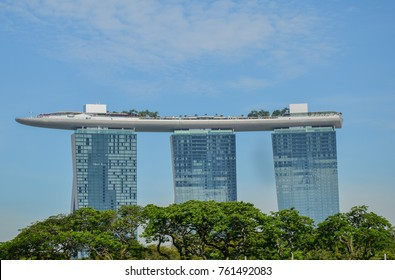 SINGAPORE CITY, SINGAPORE - APRIL, 2017: Marina Bay Sands, one of the most iconic buildings in Singapore