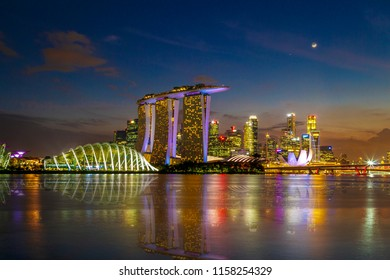 SINGAPORE CITY, SINGAPORE: Aug 15,2018: Singapore Skyline. Singapore`s business district, marina bay sand and the garden by the bay on sunset.