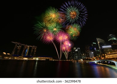 Singapore city building firework at Marina bay for New Year