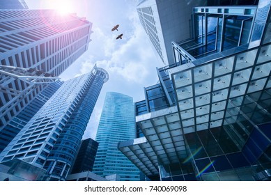 Singapore city business center corporate financial . Panoramic and perspective view light blue background of glass high rise building skyscraper commercial of future.
