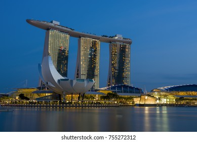 SINGAPORE CITY, SINGAPORE - FEBRUARY 10, 2017: Marina Bay Sands at night the largest hotel in Asia. It opened on 27 April 2010. Singapore on FEBRUARY 10, 2017