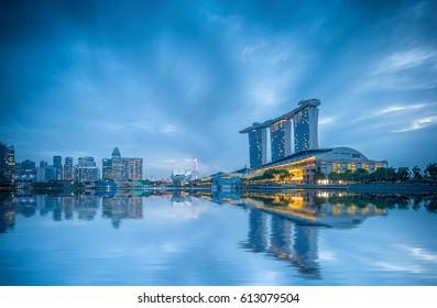 SINGAPORE CITY, SINGAPORE - FEBRUARY 13, 2017: View Of Marina Bay sands at sunrise. Travel, Singapore on FEBRUARY 13, 2017